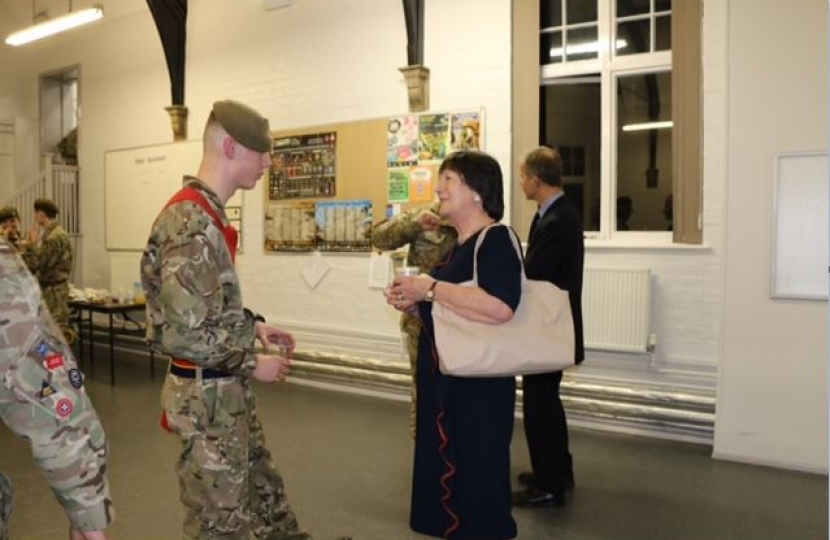 Pauline Latham OBE MP recently visits Derbyshire Army Cadet