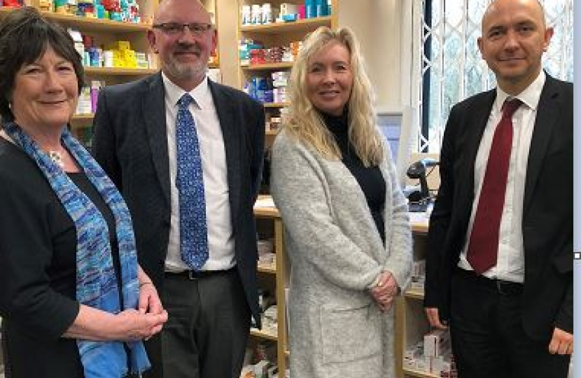 Pauline Latham OBE MP and Ed Scully Deputy Director of GP Policy at the Department for Health visit Wilsons Pharmacy
