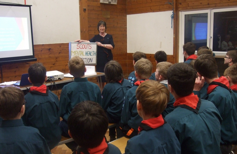 Pauline Latham OBE MP visits Duffield Scouts at their Scout Hut