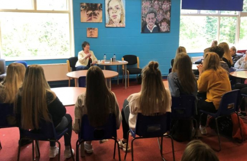 Pauline Latham OBE MP visits Belper School to speak with Sixth Form girls about women's issues